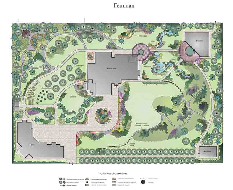 Ландшафтный дизайн в стиле модерн для участка при канадском доме