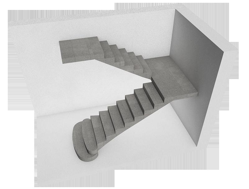 Поворотные лестницы П-образной формы