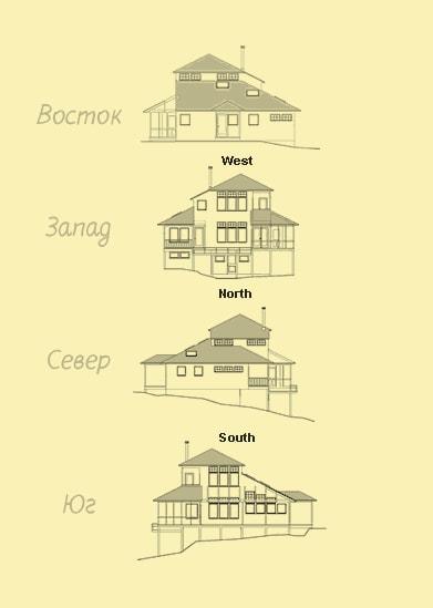 эскиз фасада дома по сторонам света