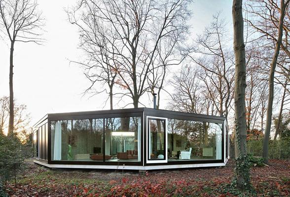 современный стиль шестигранного дома из сип панелей