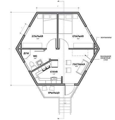 шестигранный дом из сип панелей отлично подходит для большой семьи