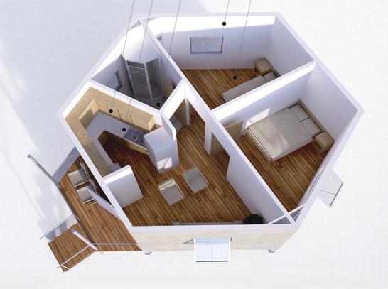 современная планировка шестигранного дома