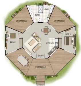 внутреннее пространство Гексагонального SIP дома