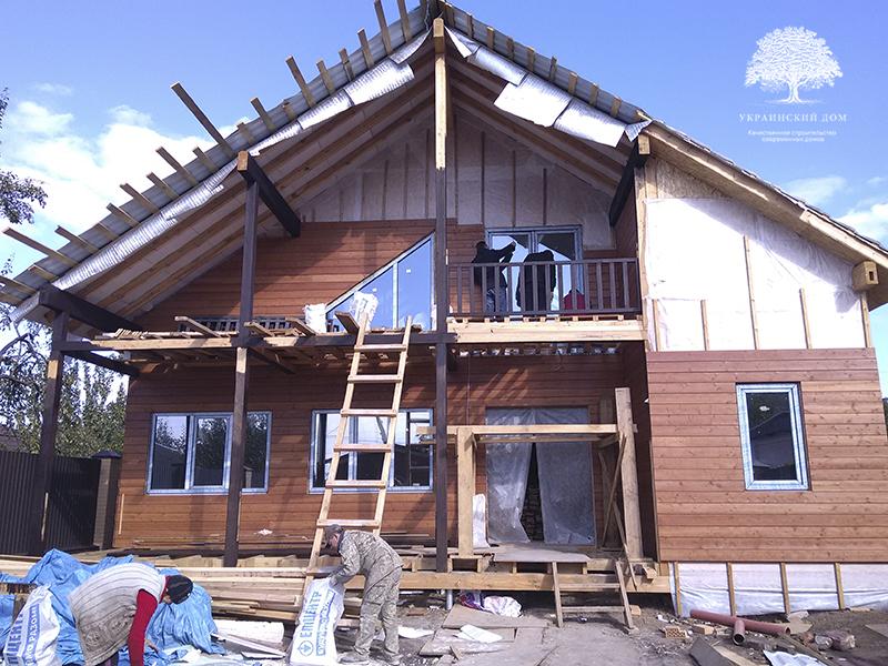"""Канадский дом из сип панелей - объект компании """"Украинский дом"""" в Кривом Рогу - фасадная отделка в процессе"""