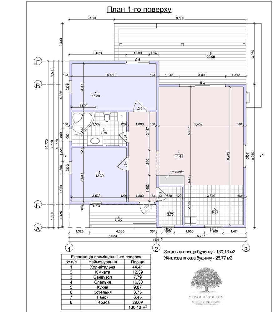 """Канадский дом из сип панелей - объект компании """"Украинский дом"""" в Юрьевке - план 1 этажа"""