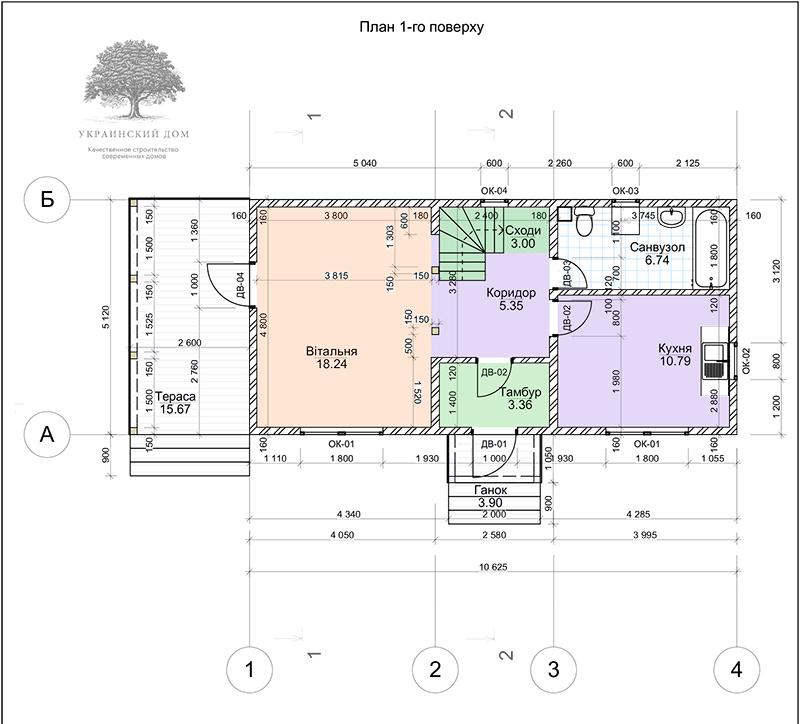 """Экспликация 1 этажа - канадский дом из сип панелей в Миргороде - готовые объекты строительной компании """"Украинский дом"""""""