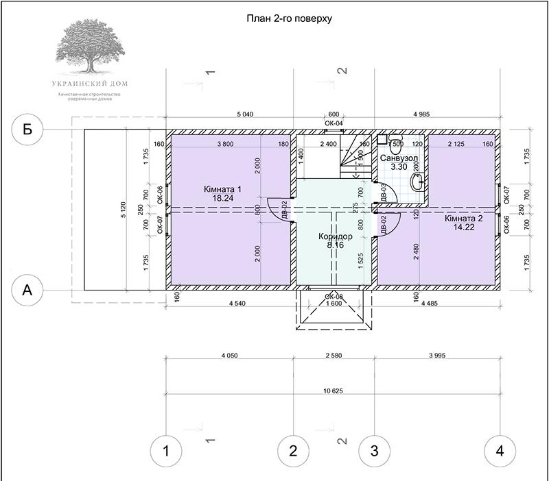"""Экспликация 2 этажа - канадский дом из сип панелей в Миргороде - готовые объекты строительной компании """"Украинский дом"""""""