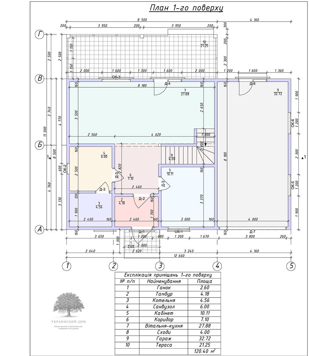 """Канадский дом из сип панелей - объект компании """"Украинский дом"""" в с. Курортное - экспликация первого этажа"""