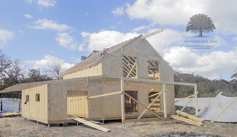 """Канадский дом из сип панелей - объект компании """"Украинский дом"""" в с. Курортное - дом в процессе строительства"""