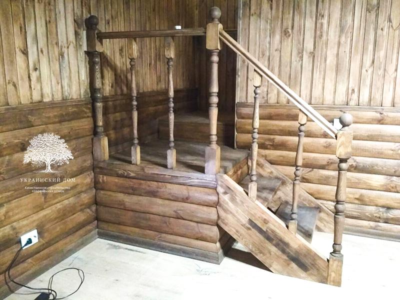 """Канадский дом из сип панелей - объект компании """"Украинский дом"""" в с. Курортное - лестница"""