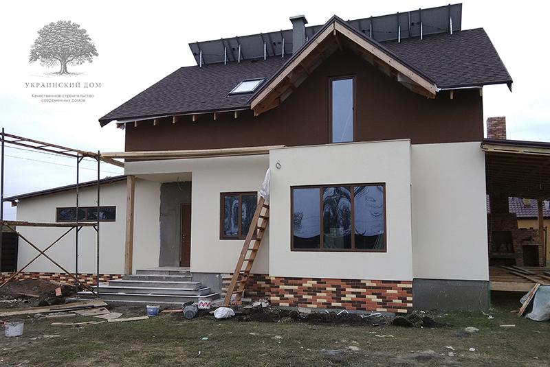 """Канадский дом из сип панелей - объект компании """"Украинский дом"""" в Запорожье - дом с фасадной отделкой"""