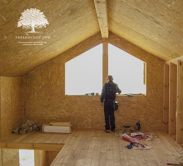 """Канадский дом из сип панелей - объект компании """"Украинский дом"""" в Запорожье - так выглядит антресоль изнутри дома"""