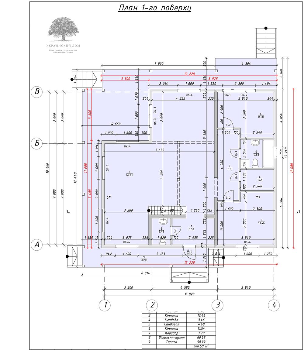 """Канадский дом из сип панелей - объект компании """"Украинский дом"""" в Запорожье - план первого этажа"""