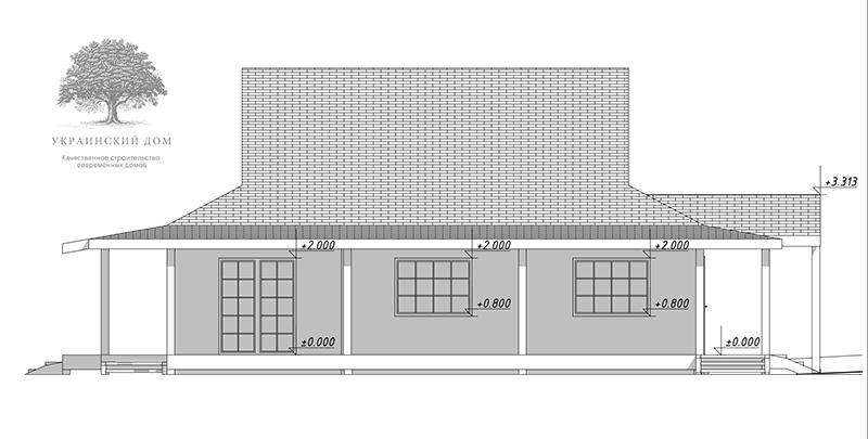 """Канадский дом из сип панелей - объект компании """"Украинский дом"""" в Запорожье - эскизный проект дома в японском стиле"""