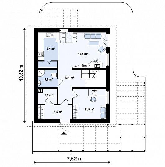Проекта sip дома Z 115 - схема 1 этажа