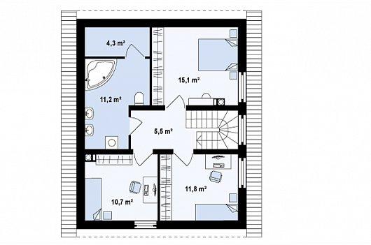 Проекта sip дома Z 115 - схема 2 этажа