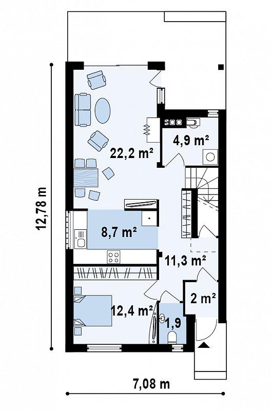 Проект sip дома Z137 - схема 1 этажа