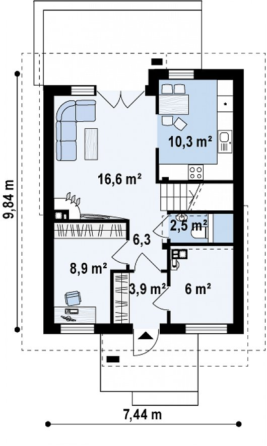 Проект sip дома Z 174 - схема 1 этажа
