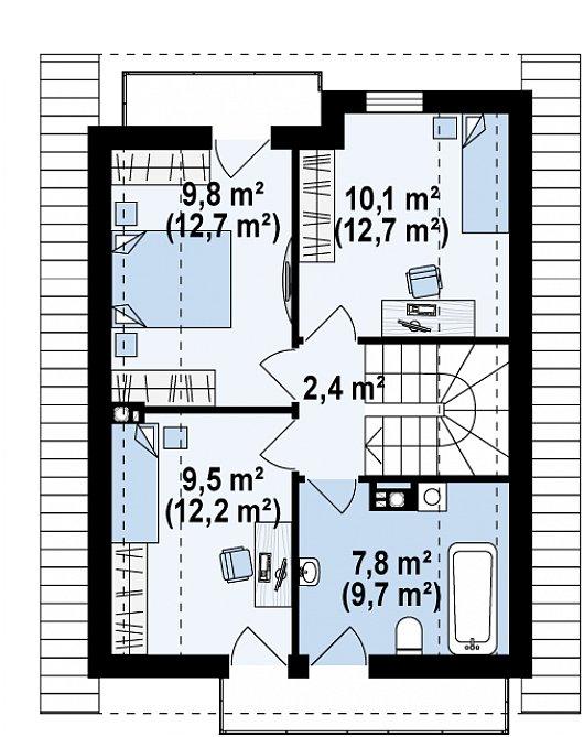 Проект sip дома Z 174 - схема 2 этажа