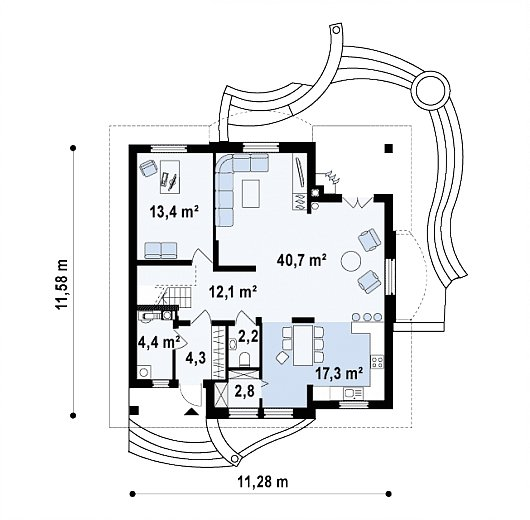 Проект sip дома Z18 - схема 1 этажа