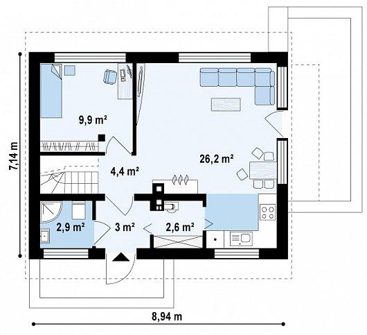 Проекта sip дома Z211 - 1 этаж