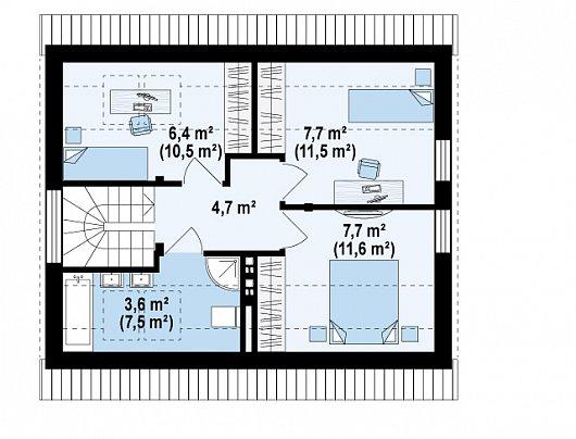 Проекта sip дома Z211 - 2 этаж