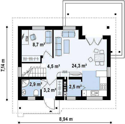 Проект sip дома Z 212 - схема 1 этажа