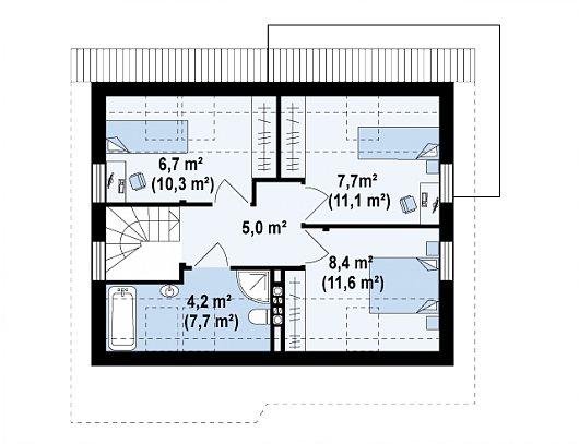 Проект sip дома Z212 - схема 2 этажа