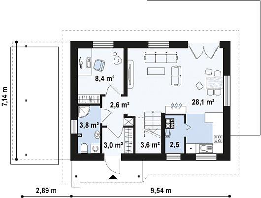 Проекта sip дома Z216 - схема 1 этажа