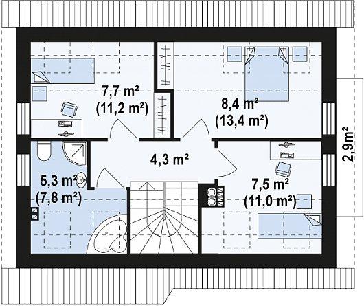 Проекта sip дома Z216 - схема 2 этажа