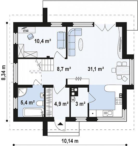 Проекта sip дома Z245 - схема 1 этажа
