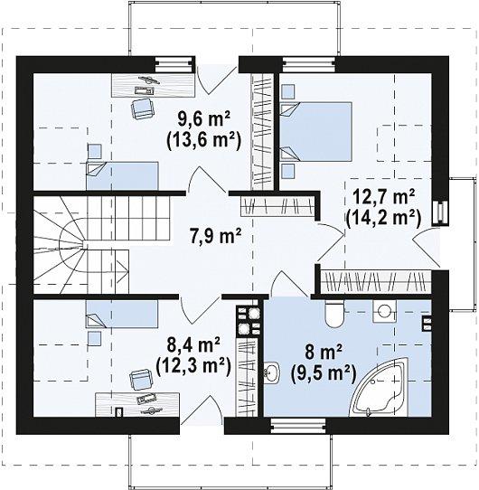 Проекта sip дома Z245 - схема 2 этажа