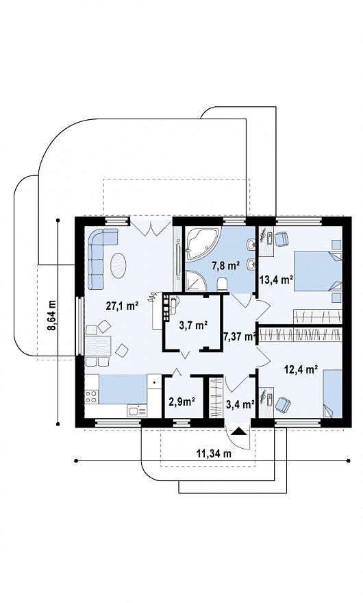 Проекта sip дома Z252 - схема 1 этажа