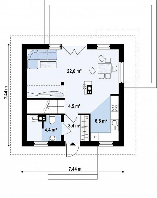 Проекта sip дома Z264 - схема 1 этажа