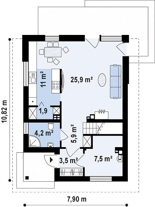 Проект sip дома Z 295 k - схема 1 этажа