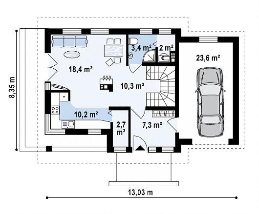 Проекта sip дома Z33 - схема 1 этажа