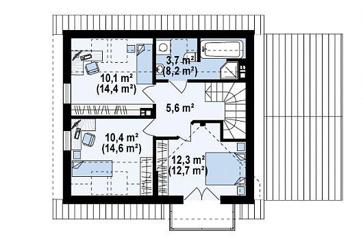 Проекта sip дома Z33 - схема 2 этажа