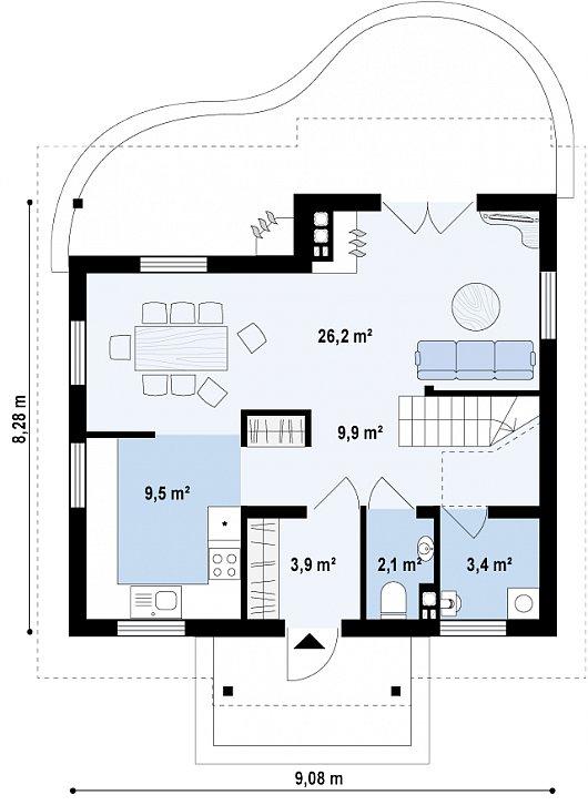 Проекта sip дома Z3 - схема 1 этажа
