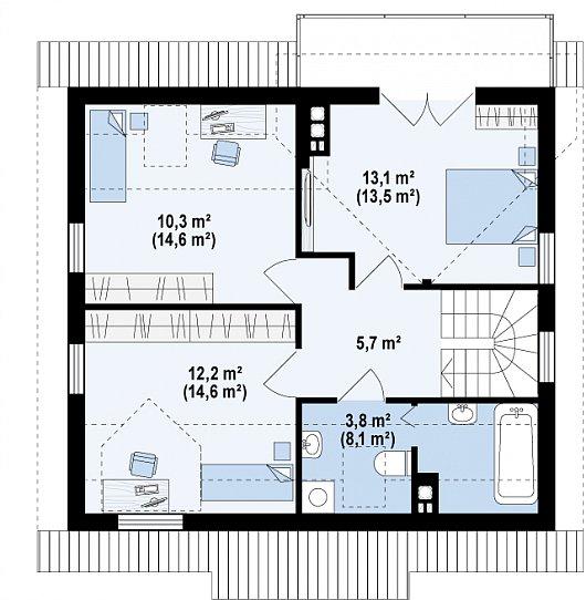 Проекта sip дома Z 3 - схема 2 этажа