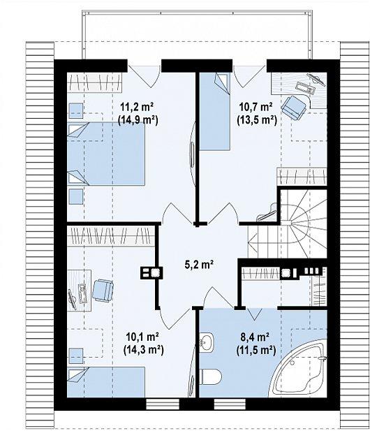Проект sip дома Z45 - схема 2 этажа