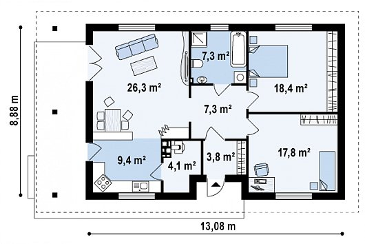 Проект sip дома Z 55 - схема 1 этажа
