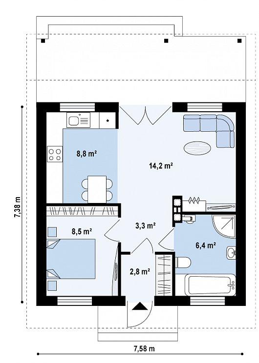 Проект sip дома Z 60 - схема 1 этажа