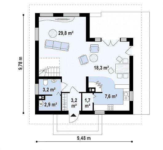 Проекта дома из sip Z62 - схема 1 этажа