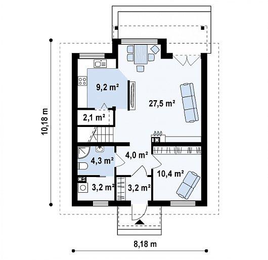 Проекта sip дома Z99 - схема 1 этажа