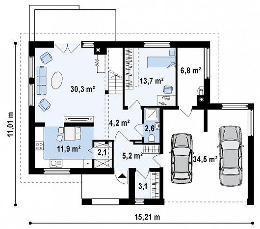 Проект sip дома Zx26 - схема 1 этажа