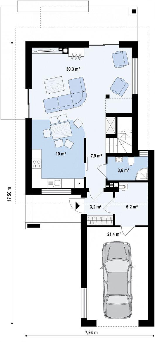 Проекта дома из sip Z297 - схема 1 этажа