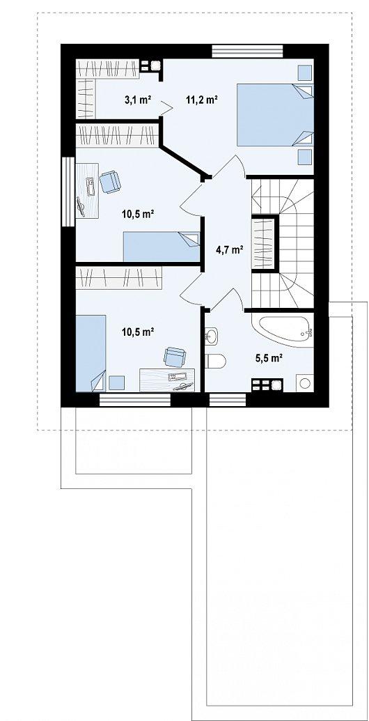 Проекта дома из sip Z297 - схема 2 этажа