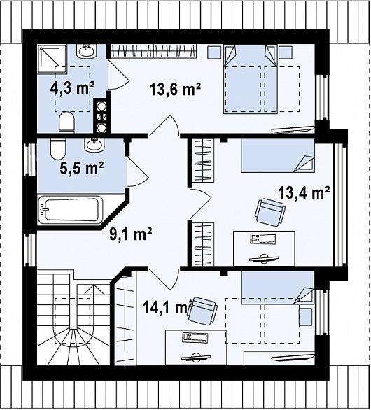 Проект sip дома Z47 - схема 2 этажа