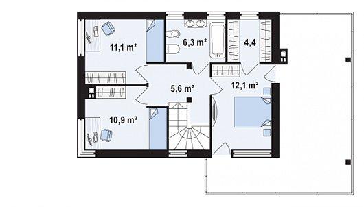 Проекта sip дома Zx63 А - схема 2 этажа