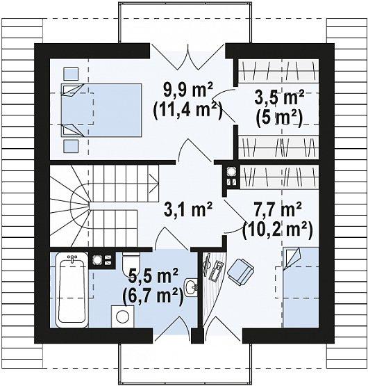 Проекта sip дома Z264 - схема 2 этажа